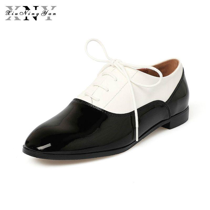 XiuNingYan 2018 Véritable Femme En Cuir Bout Rond Vintage Appartements Oxford Chaussures À La Main Noir et blanc Britannique Oxford Chaussures pour Femmes