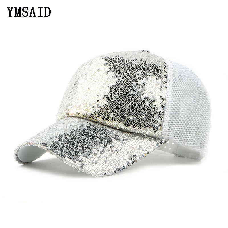 2018 nouveau été noir paillettes casquettes de Baseball pour les femmes maille chapeau Net Casquette mousseux loisirs soleil Casquette réglable adulte