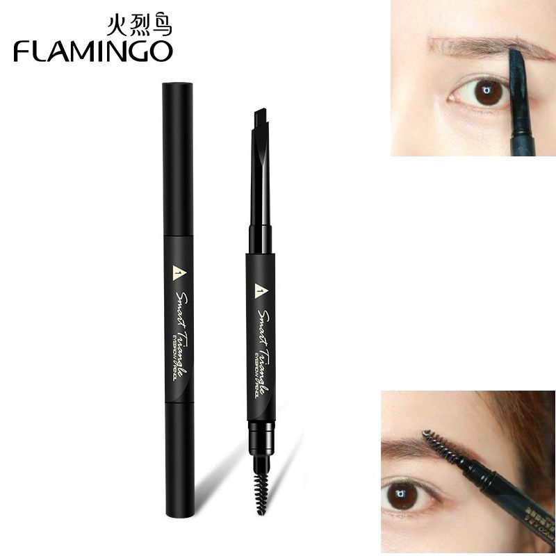 FLAMINGO Triangle Head Shape Eyebrow Pencil Natural Double-Edged Long Lasting Easy to Wear Automatic Eyebrowse Pencil B1031