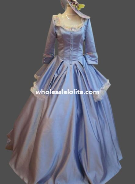 Historical Sky Blue Satin 18th Century Marie Antoinette Period Dress Ball Gown