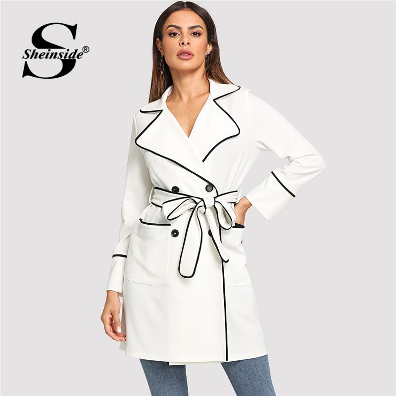 Sheinside White Contrast Binding Self Belted Surplice Wrap Trench Coat 2018 Clothes Autumn Workwear Notched Outerwear Long Coats