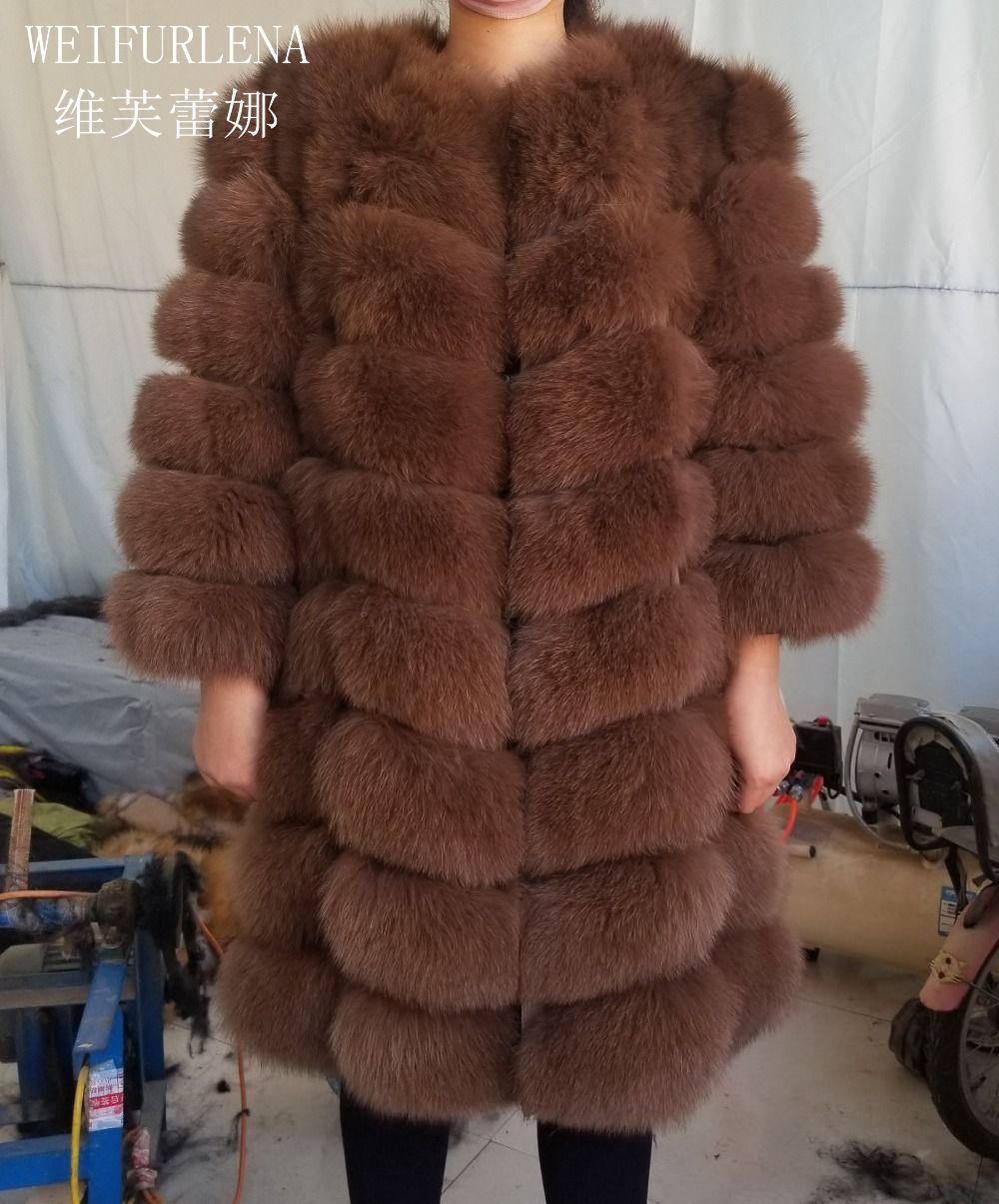 90CM real fox fur Quality Natural Fur Coat Arctic Fox Vest Ladies Detachable Women Thick Design Winter Transformer Coat