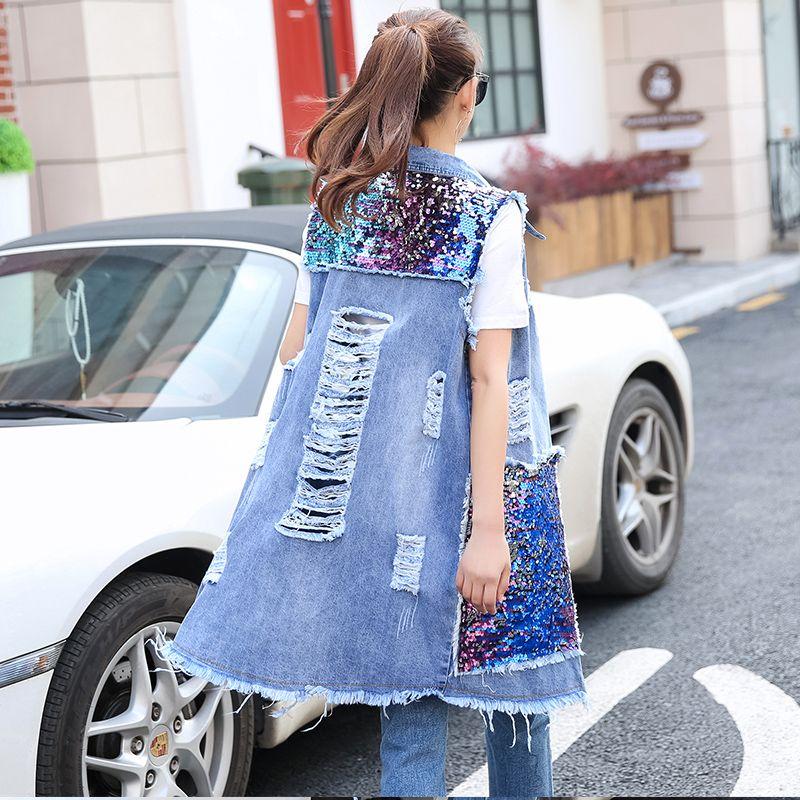 New Fashion Womens Hole Vest Large Pocket Sequins Trendy Females Denim Elegant Casual All Match Trendy Women Outerwear Female