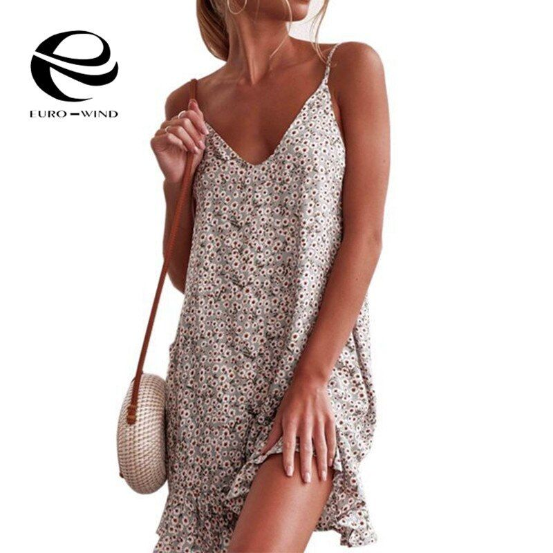 New 2019 Women Floral Printed Loose Mini Dress Ladies V-Neck Summer Dresses Stylish Sleeveless Beach Boho Strap Dress Vestidos