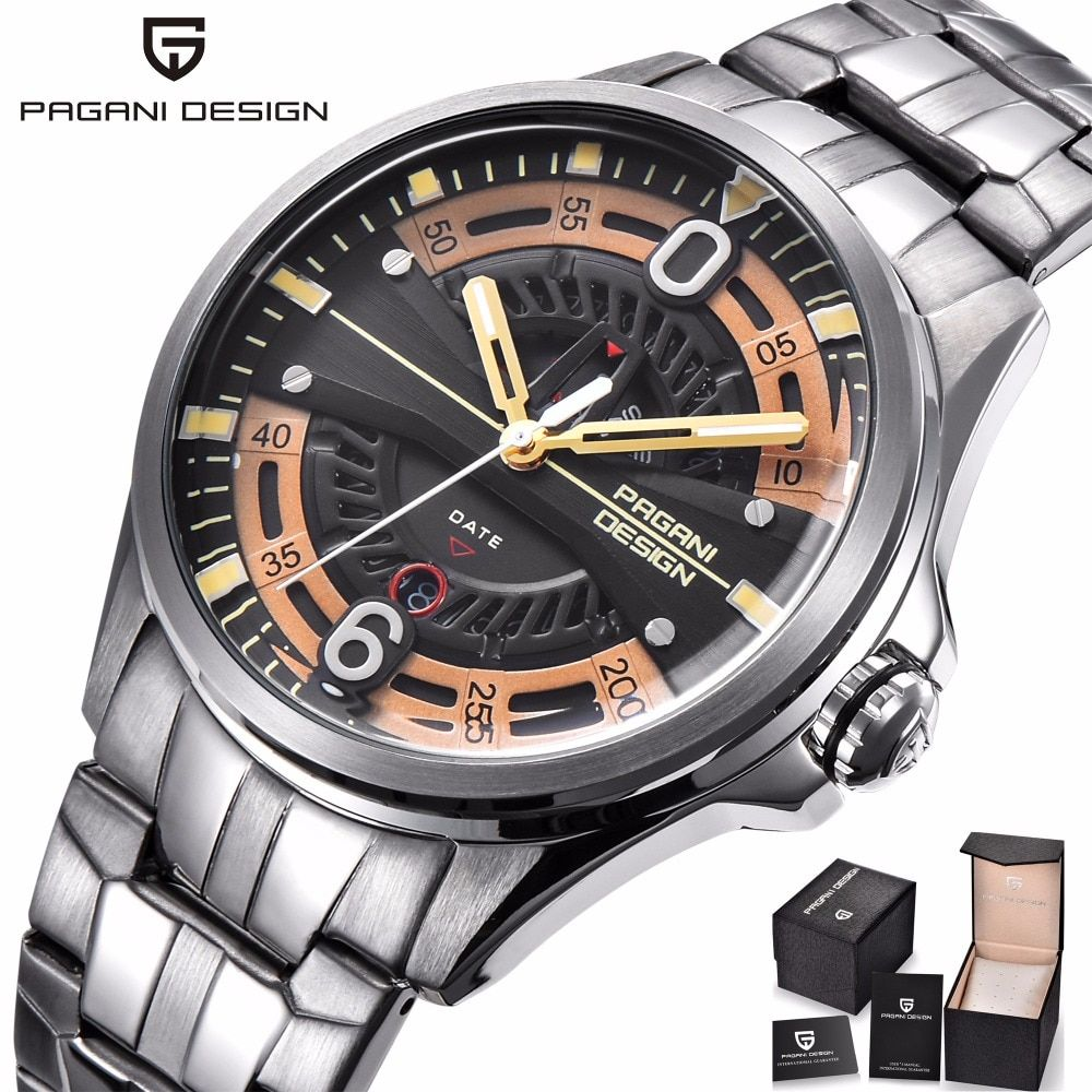 PAGANI DESIGN Fashion Casual Brand Man Watch Stainless Steel 30M Waterproof Quartz Sport Hollow Calendar Watch Relogio Masculino