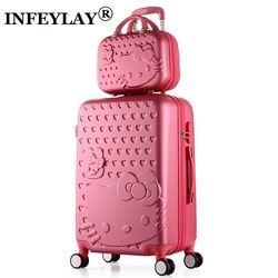 2 unids/set encantadora 14 pulgadas bolsa de cosméticos Hello Kitty 20 24 pulgadas estudiantes trolley equipaje de viaje mujer Rolling maleta