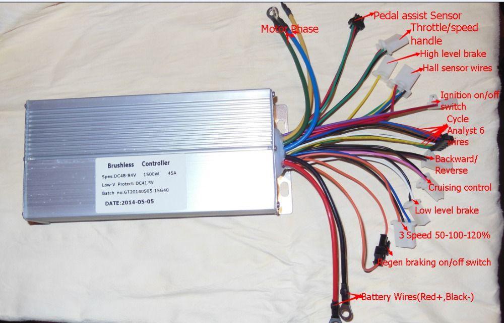 GREENTIME 15 Mosfets 48-84V <font><b>1500W</b></font> 45Amax Dual mode Sensor/Sensorless Brushless DC Motor Controller