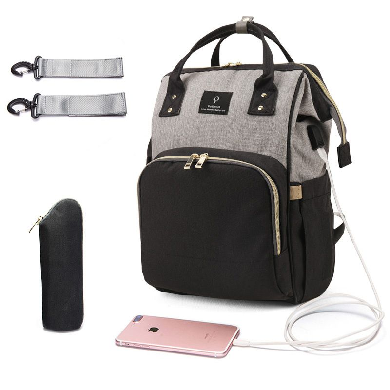 Diaper Bag USB Large Capacity Nappy Bag Waterproof Maternity Travel Backpack Designer Nursing Bag Baby Care Stroller Handbag New