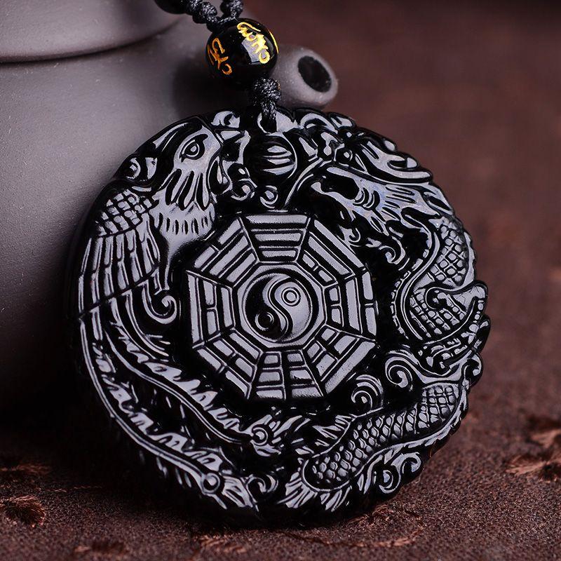 Naturel Noir Obsidienne Sculpté À La Main Chinois Dragon Phoenix BaGua Chanceux Amulette Pendentif Collier Libre De Mode Fine Jade Bijoux