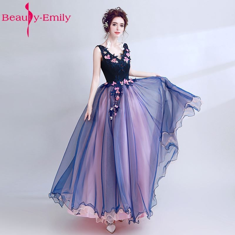 Beauty Emily Nave Blue New Design A-line Sexy Evening Dresses 2018 Deep V-neck Lace Sexy Prom Party Dresses