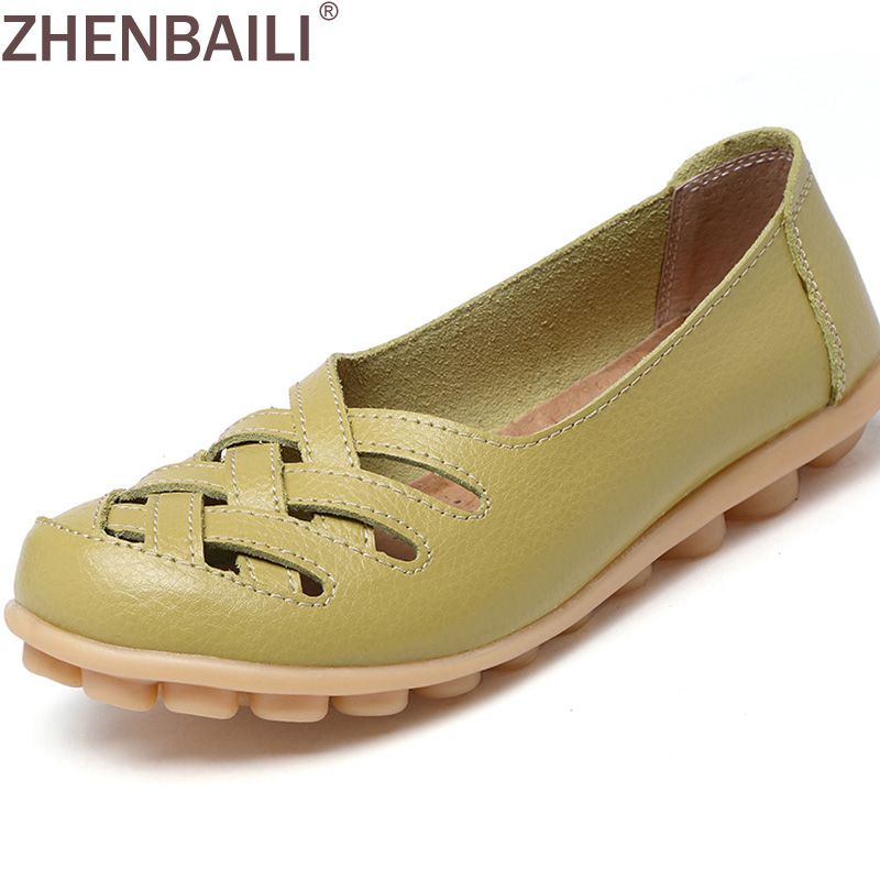 New Arrival Women Sandals Summer Shoes 2017 Fashion Genuine Leather Casual Loafers Shoes Flats with Hollow Out Size 34-44