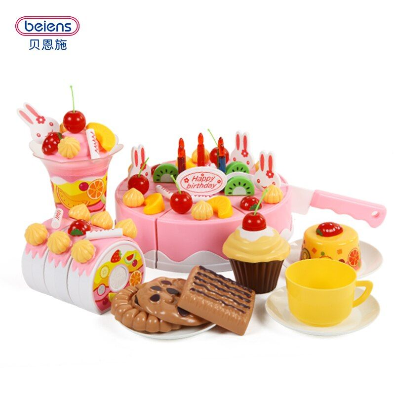 Beiens Marca Juguetes DIY 75 Unids Juegos de imaginación De Corte Cumpleaños Alimento de la torta de Cocina de Juguete Para Niños De Juego de Plástico de Alimentos Té conjunto