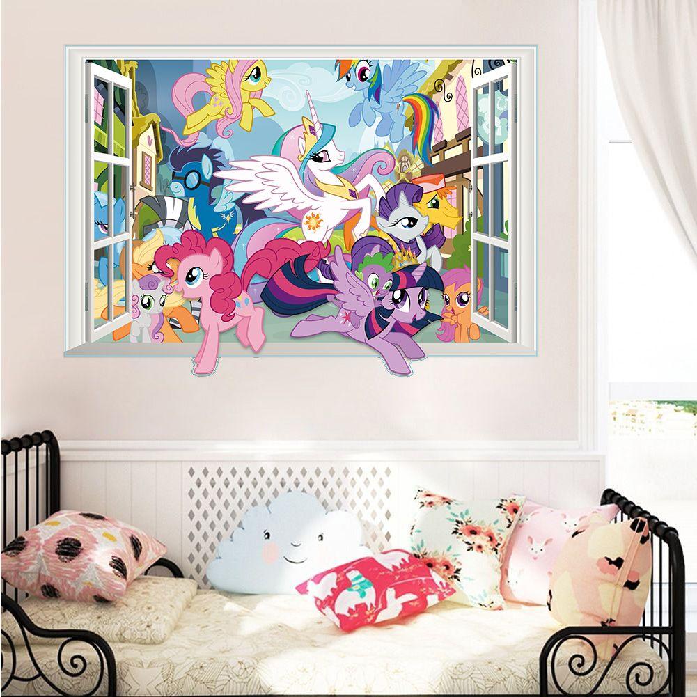 Karton Pferd Welt wand-dekor aufkleber schlafzimmer decor poster 3d falsche fenster wand kunst decals kids nursery baby mädchen geschenk