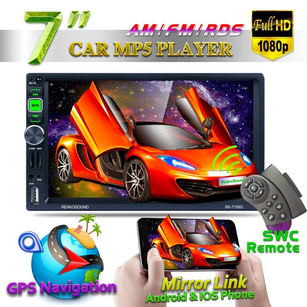 7 Inch 2 Din Bluetooth Car Navigator Radio MP5 Audio Player GPS Reversing Camera Video USB SD RDS Mirror Link 8G Western Card