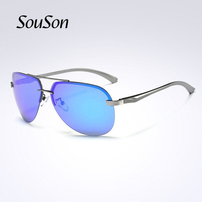 2018 Souson Brand men Sunglasses Polarized aviator outdoor fishing/Driving Sunglasses For Men with Box lens color changeable