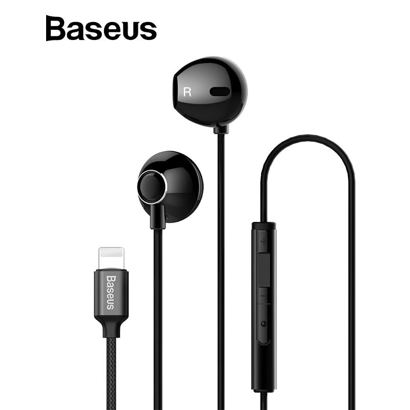 Baseus P06 Wired Stereo Earphone For iPhone X 8 7 Bass Sound Hifi Earbuds for iPhone Lightning Jack earphones With Mic for ios