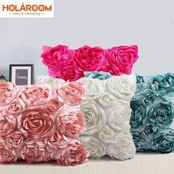 Gaya Eropa 3D Mawar Bordir Sarung Bantal Pernikahan Rumah Dekoratif Bantal Sofa Cojines Decorativos untuk Sof