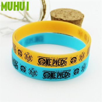 2 Colors Anime One Piece Luffy Silicone Bracelet For Women High Quality Hologram Bracelets Men Jewelry Wholesale