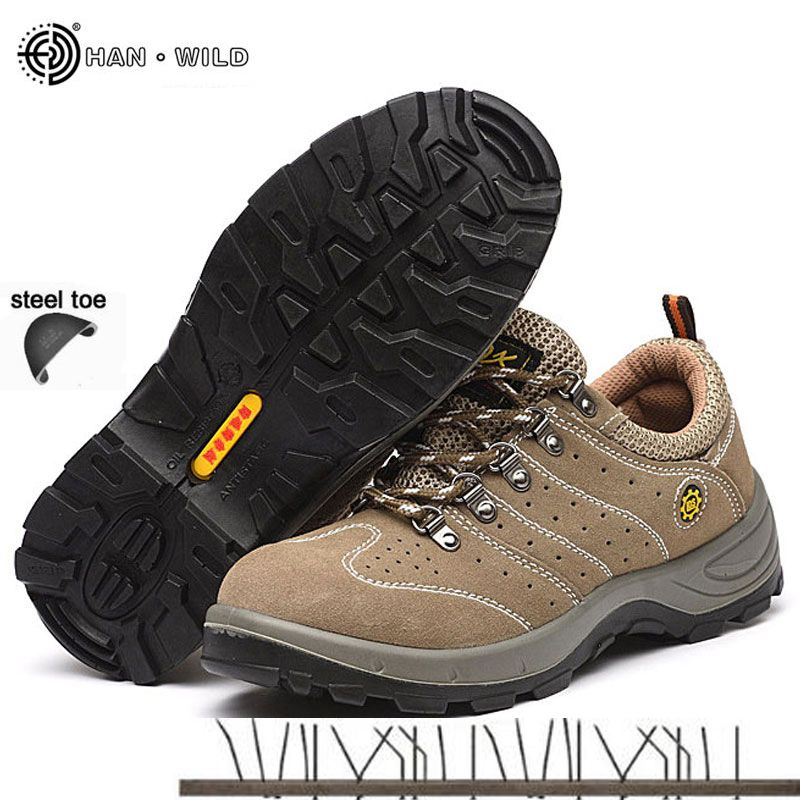 Men Steel Toe Cap Shoe 2018 Spring Leather Breathable Labor Insurance Puncture Proof Casual Boots Mens Safety Work Shoes