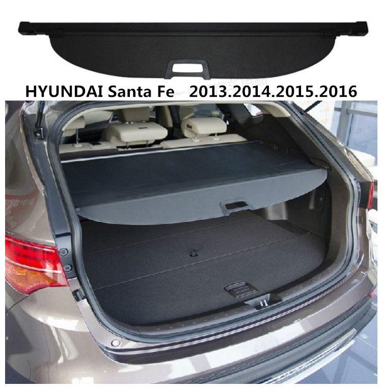 For HYUNDAI Santa Fe 2013.2014.2015.2016 Rear Trunk Security Shield Cargo Cover High Qualit Auto Accessories Black Beige
