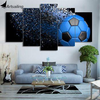 HD с 5 шт. холст Книги по искусству Футбол фрагментации картины настенные панно для Декор в гостиную Бесплатная доставка CU-2459C
