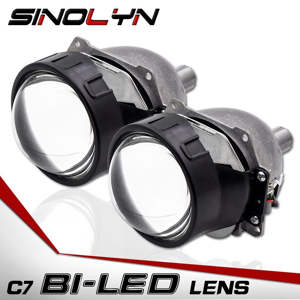 Sinolyn Car Bi LED Lens Headlight Projector Lenses H1 H4 H7 9005 90006 LED Light Retrofit DIY Headlamp Kit 3.0'' 5500K