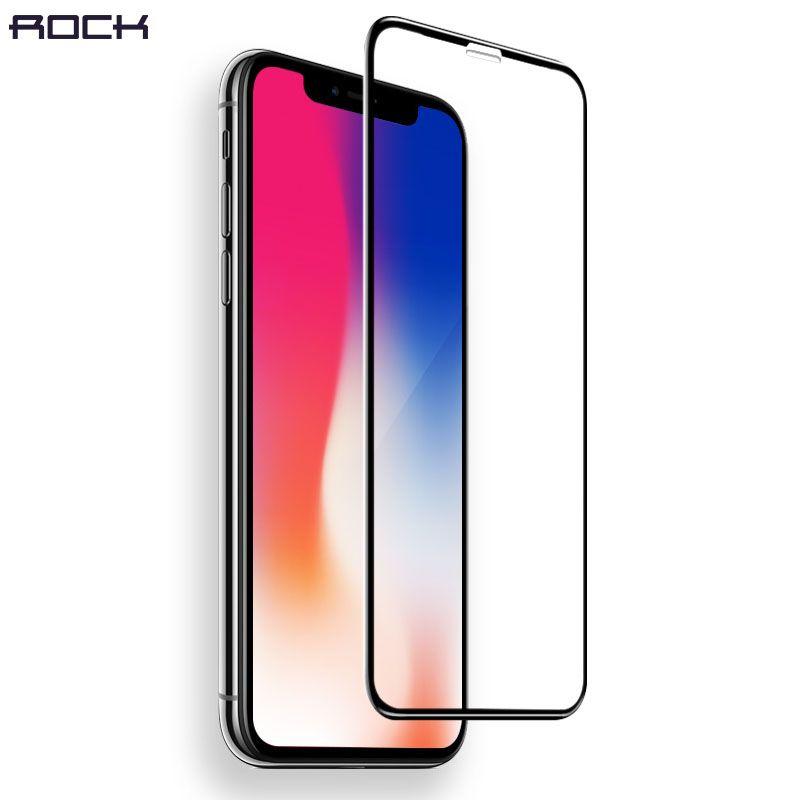 4D Courbe Plein Trempé Protecteur D'écran En Verre pour iPhone X, ROCK 0.26 MM Haute Qualité Dur Bord 4D Trempé Verre pour iPhone X