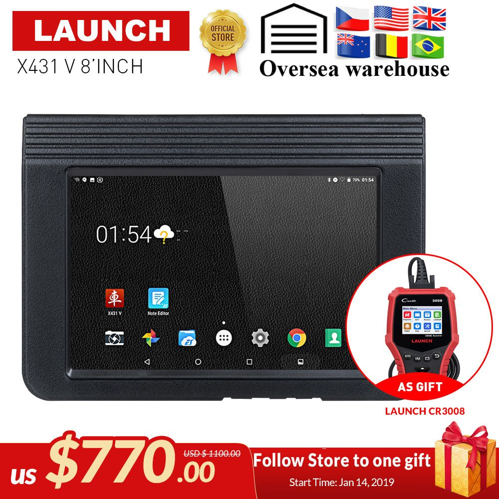 LAUNCH X431 V 8 Bluetooth Wi-Fi Full System Car Diagnostic tool Support ECU Coding X-431 V Pro Mini Auto Scanner update online