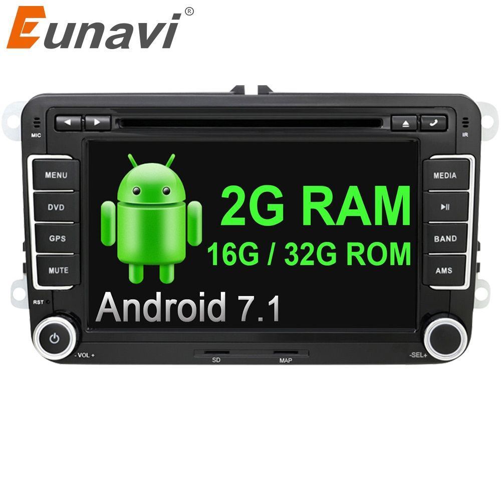 Eunavi 2 din 7'' Quad Core android 7.1 car dvd radio player 2din gps For VW Skoda POLO PASSAT B6 CC TIGUAN GOLF 5 Fabia wifi RDS