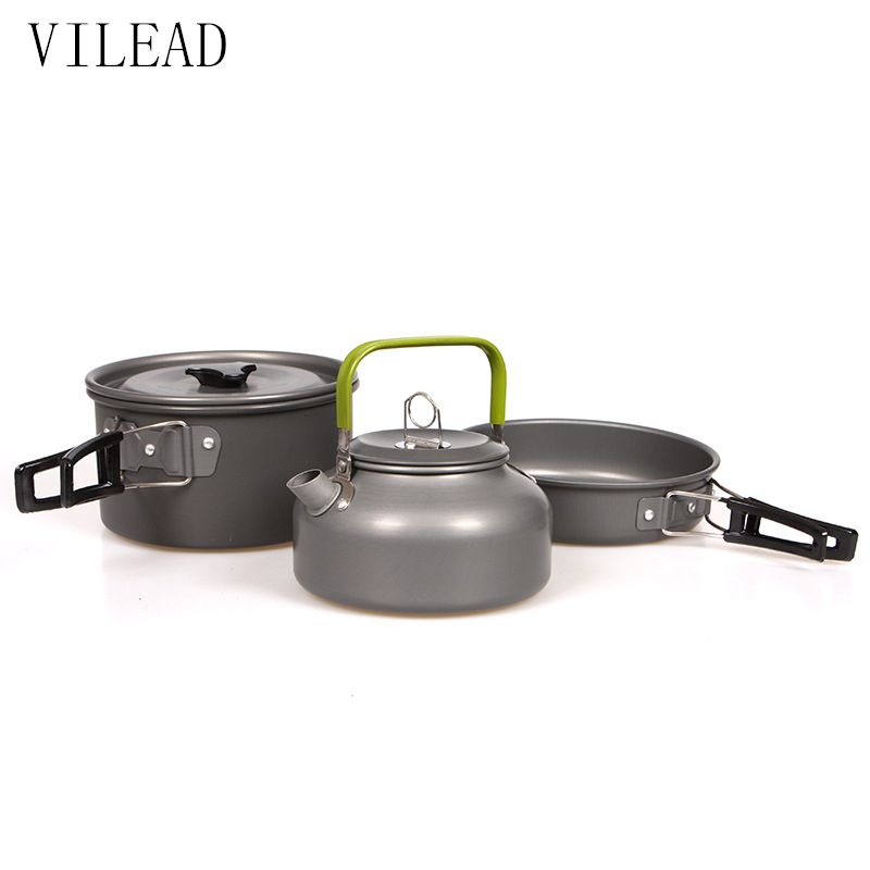 VILEAD Portable <font><b>Camping</b></font> Pot Pan Kettle Set Aluminum Alloy Outdoor Tableware Cookware 3pcs/Set Teapot Cooking Tool for Picnic BBQ