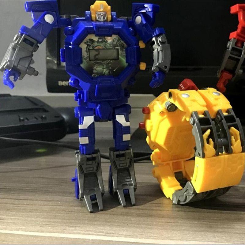 DROPSHIPPING Robot  Transformation Wristwatch Toy Mecha Robot Electronic Watch Children Sports Cartoon Watches Kids Xmas Gifts
