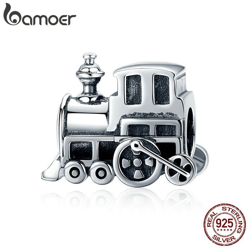 BAMOER 100% Real 925 Sterling Silver Vintage Locomotive Train Car Charm fit Women Charm Bracelet DIY Jewelry Making SCC507