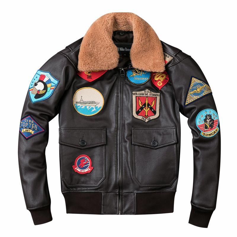 2018 Brown Men TOP GUN Pilot Leather Jacket Wool Collar Plus Size XXXL Genuine Cowhide Winter Russian Aviator Coat FREE SHIPPING