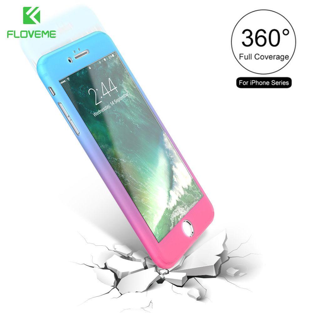 FLOVEME Für iPhone 6 S 6 7 Phone Cases, 360 360-grad-schutz + Glas Abdeckung Fall Für iPhone 7 6 6 S Plus