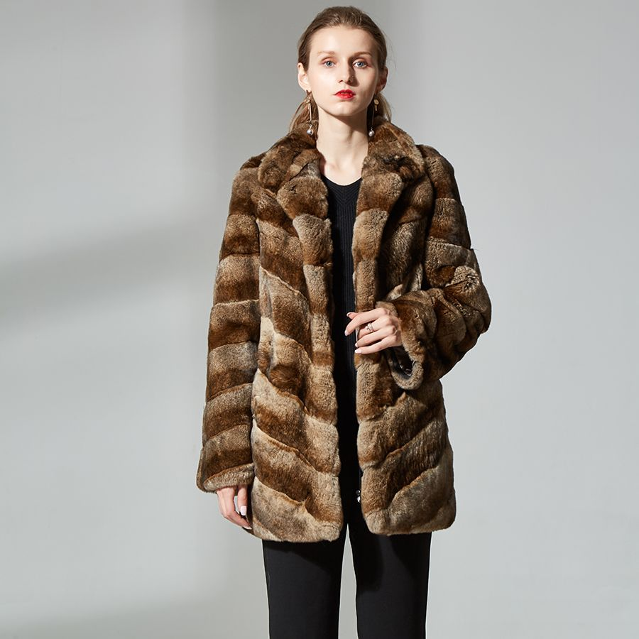 High quality rabbit fur coats for women rex rabbit fur coat real fur coat sable color stand collar fashion real fur jacket