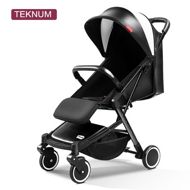 Teknum baby stroller ultra-light can ride can be lying portable umbrella folding mini four round children's trolley