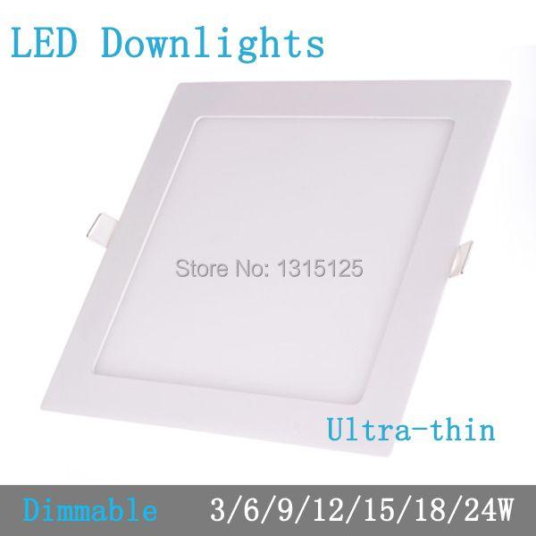 Dicke 3 Watt/6 Watt/9 Watt/12 Watt/15 Watt/18 Watt/24 Watt dimmbare LED-downlight Platz LED-panel Deckeneinbau glühbirne lampe AC85-265V smd2835