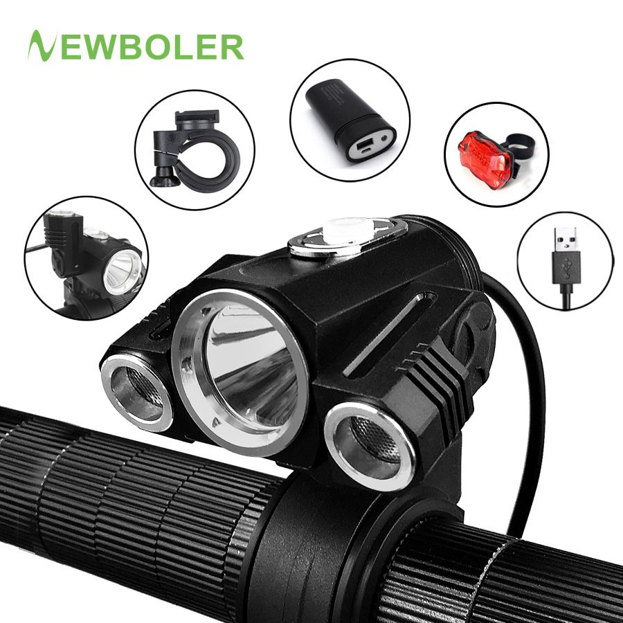 NEWBOLER Bicycle Light Adjust Angle Bike LED Front T6 Flashlight USB Rechargeable Battery 10000LM Cycling Lamp Bike Accessories