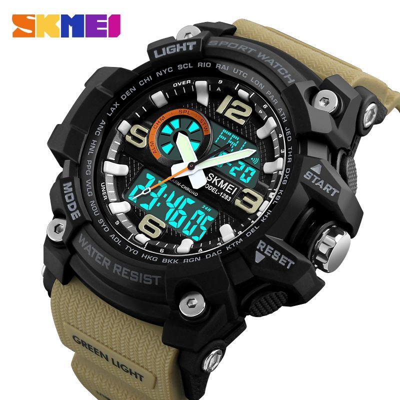 SKMEI Fashion Sports Multifunction Outdoor Men's Watches Dual Display Digital <font><b>Quartz</b></font> Chronograph Wristwatches Relogio Masculino