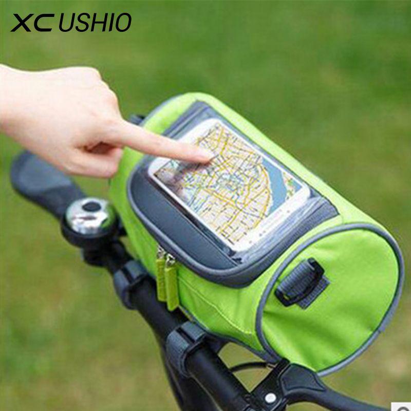 Wasserdichte Mountainbike Fahrrad Taschen Packtaschen Touch Screen Radfahren Handytasche Fall Rennrad Vorne Rohr Lenker Zylinder Tasche