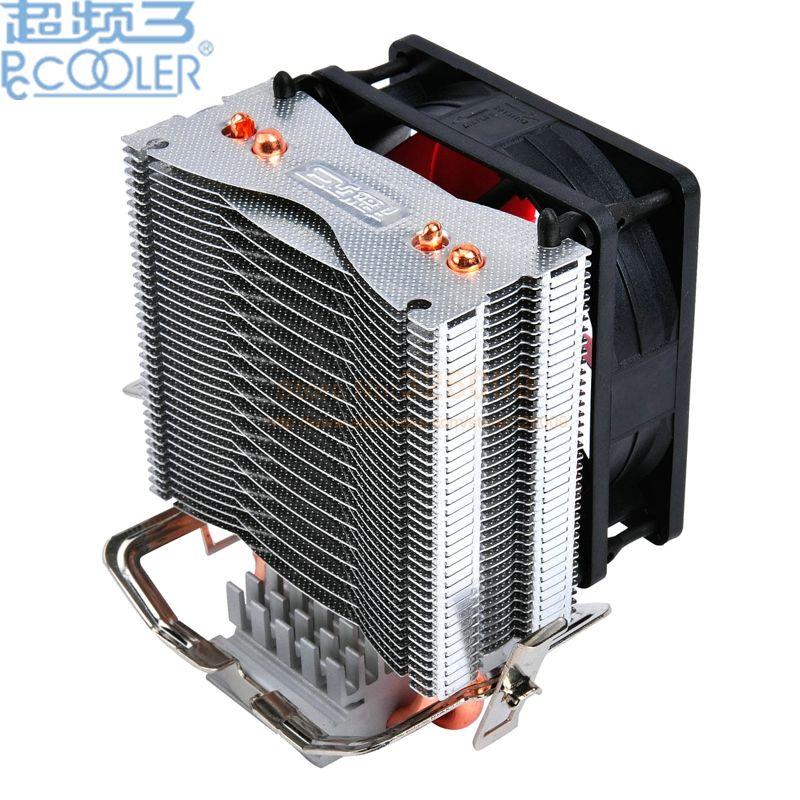PcCooler 2 heatpipe 8 cm ventilateur CPU cooler radiateur pour Intel LGA 775/1150/1151/1155 1366 pour AMD AM2 +/AM3/FM1/AM2/939 ventilateur de refroidissement