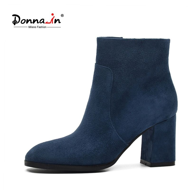 DONNA-IN genuine leather women boots natural suede leather ankle boots fashion square toe thick high heel ladies shoes for women