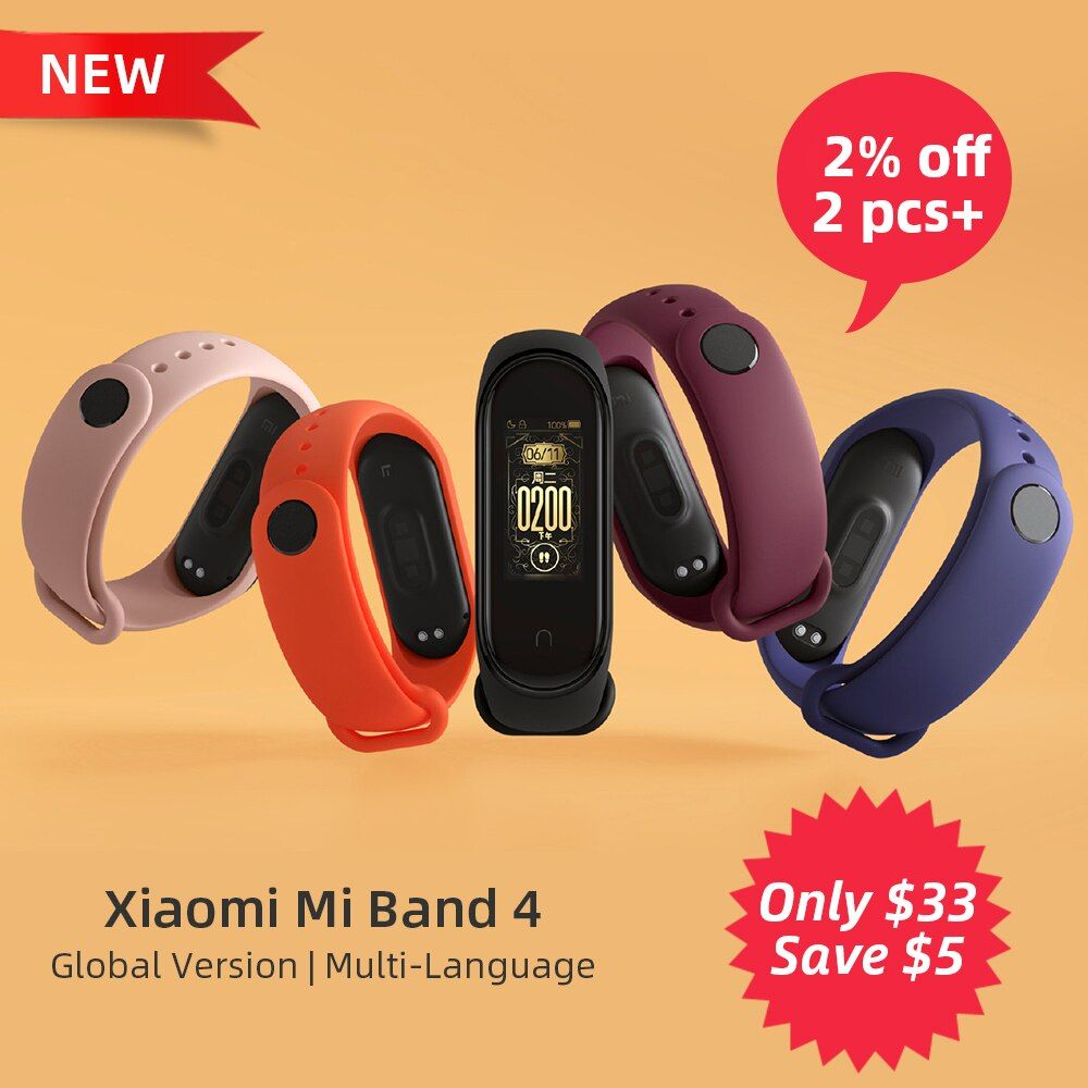2019 Newest Global Version Xiaomi Mi Band 4 Smart Wristband Bracelet Heart Rate Fitness Bluetooth 5.0 135mAh Color Screen Watch