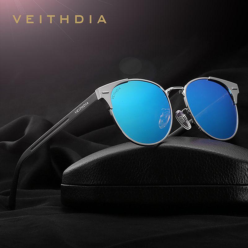 VEITHDIA Unisex Retro Aluminum Brand Sunglasses Polarized <font><b>Lens</b></font> Vintage Eyewear Accessories Sun Glasses Oculos For Men Women 6109