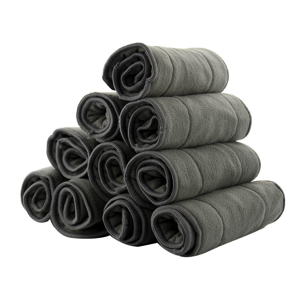 5 Pcs/10 Pcs Bambou Lavable Nappy Changement Doublures réutilisables couches couches en tissu Tapis Couches pour nouveau-né Wrap De Charbon De Bois insérer