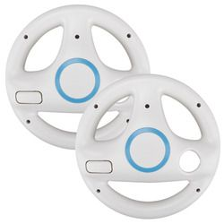 ONETOMAX 2pcs White Kart Racing Game Steering Wheel Controller For Nintendo Wii Accessories Game Remote Controller