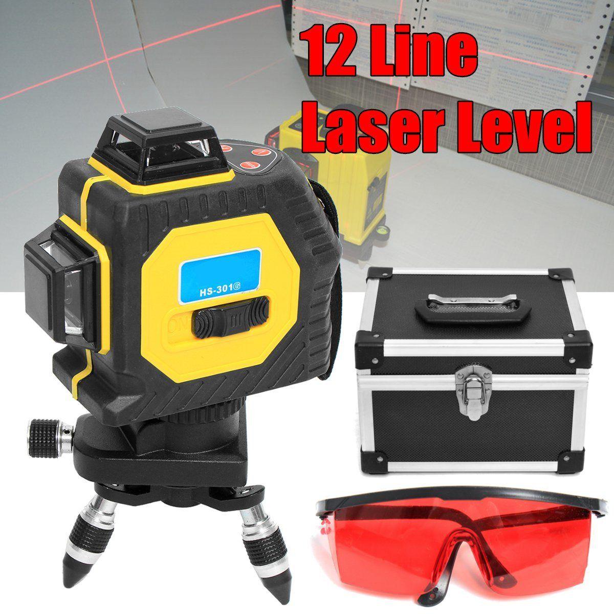 3D nivel láser 12 líneas rojas 360 grados al aire libre infrarrojo Niveles de láser instrumento de proyección autonivelante rotativo trípode kit Cruz