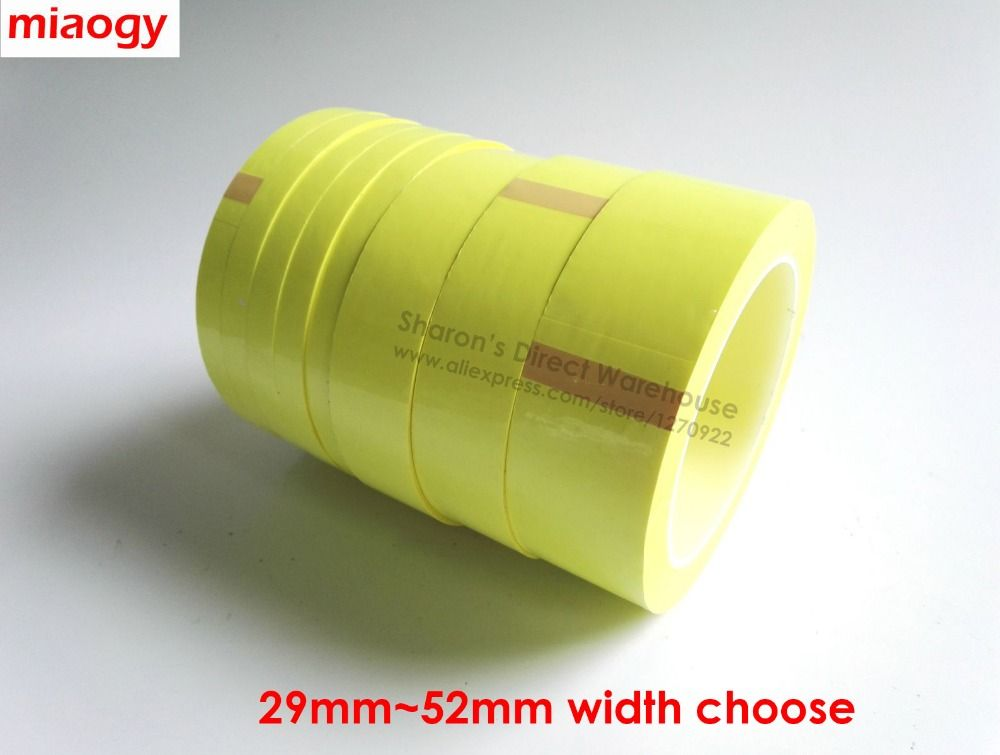 66 Metros/rodillo, 29mm ~ 52mm de Ancho Adhesiva Aislante Mylar para Transformer, Motor, condensador, potencia de la Bobina de Recapitulación, amarillo