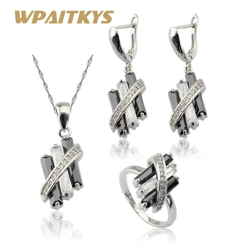 Black Cubic Zirconia White CZ Silver Color Jewelry Sets For Women Bridal Drop Earrings Necklace Pendant Rings Free Gift Box