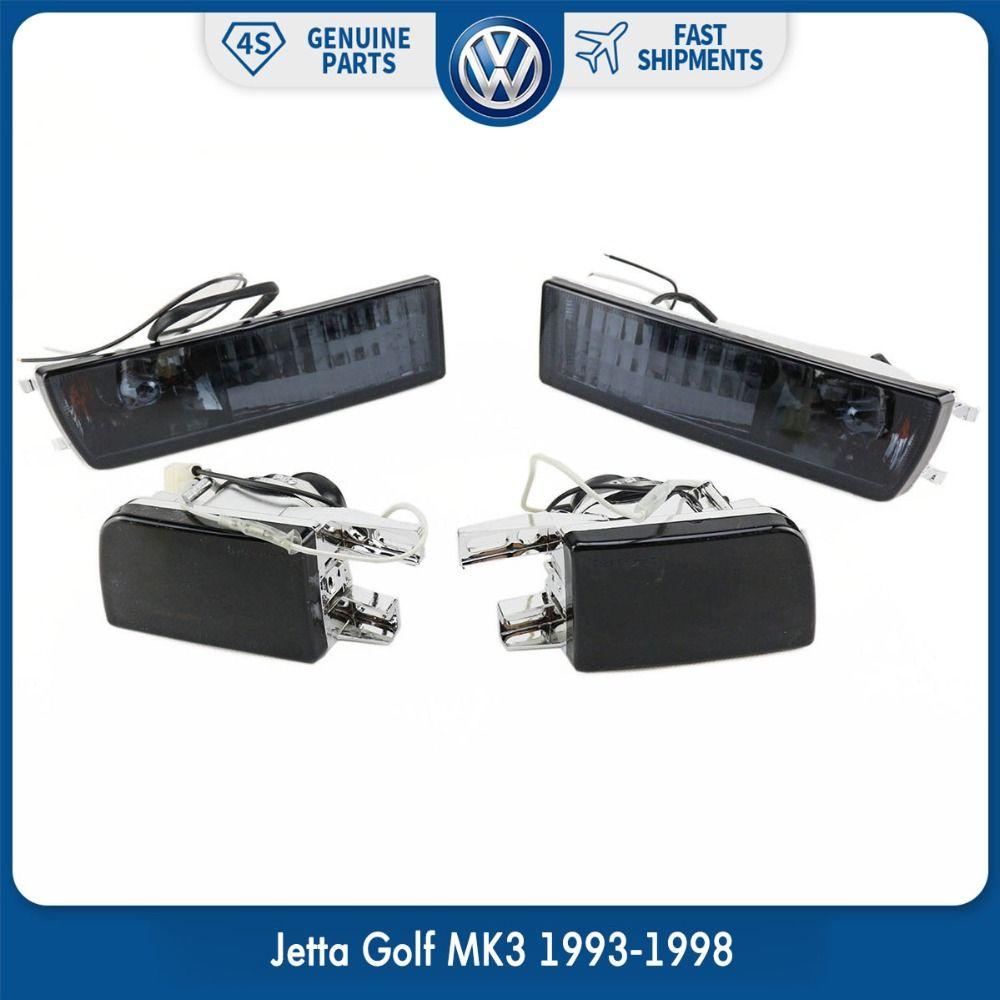 Pair Front Bumper Smoke Lens Fog Lamp Signal Light Lights for VW Volkswagen Jetta Golf MK3 1993-1998